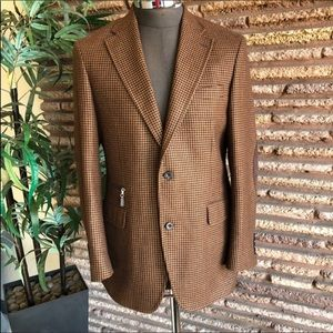 Italian Vintage Brown Houndstooth Wool Euro Blazer